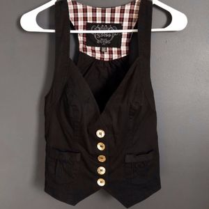 GUESS Black Cropped Mini Vest w/ Gold Buttons